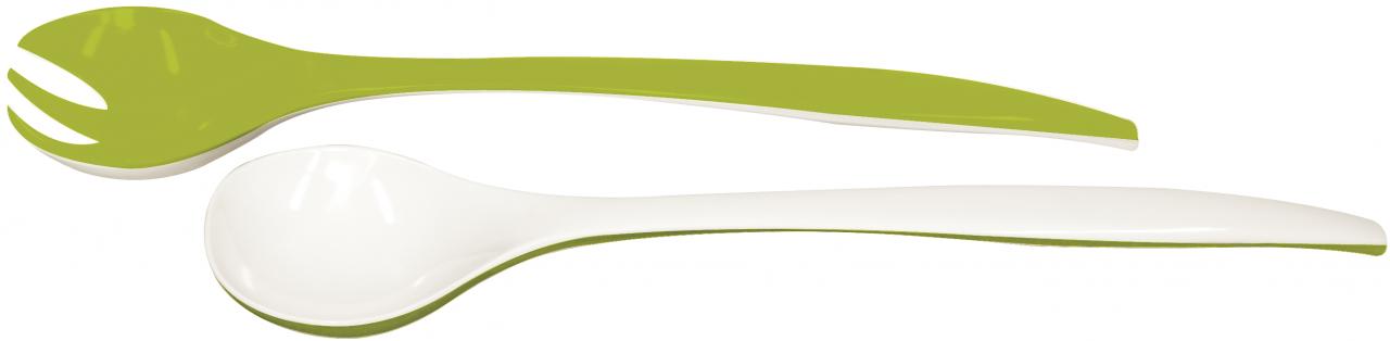 Duo Mini Salatbesteck grün/weiss 22 cm